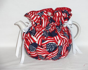 Pretty Patriotic  Reversible 6 Cup Teapot Cozy