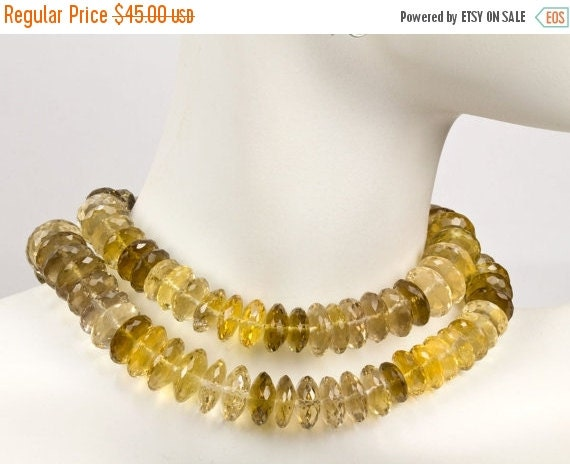 """ON SALE Faceted Quartz German Rondelles Beads Champagne Whiskey Beer Quartz Warm Color Wheels Discs - 4"""" Strand - 9.4 to 12mm - 22 Beads"""