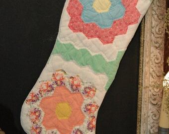 Christmas Stocking Antique Grandmas Flower Garden Quilt Coverlet Lined