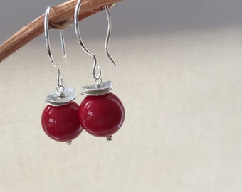 Red Coral Earrings, Sterling Silver Earrings, Red coral and Silver Hoop Earrings