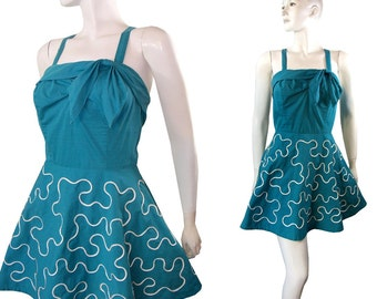 Vintage 1940s Trapeze Swimsuit Teal Blue Bathing Suit Play Suit By Lee