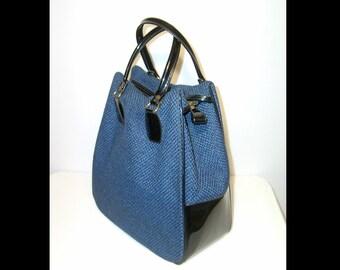 Large 1950s 1960s dark black & blue woven wool tweed bag ~ Made in England ~ vinyl trim ~ tote weekender case travel overnight suitcase