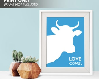 LOVE COWS - Art Print (Featured in Azure) Love Animals Art Print and Poster Collection