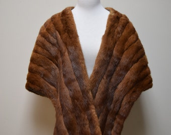 VINTAGE BULLOCKS Los Angeles Mink Fur Stole Cape Capelet Poncho Wrap Size O/S