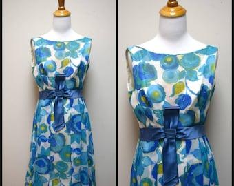 Vintage 50s/60s CAROL CRAIG Turquoise Blue Silk Floral Cocktail Dress Size S