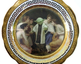 Yoda and the Nymphs Portrait Plate  - Altered Vintage Plate 9.25""