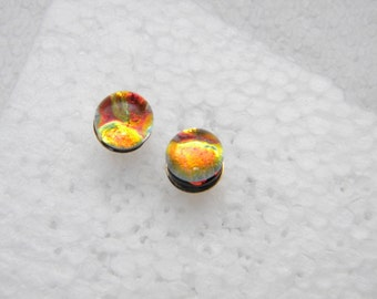 tiny POST EARRINGS fused dichroic glass (SYG22)