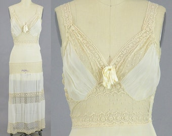 1930s Lace Nightgown, 30s Lingerie, Sheer Silk and Lace Bridal Slip, Beau Monde 32 Bust