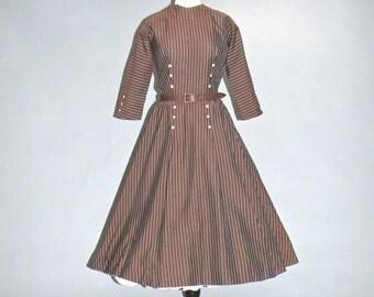50s Dress, 1950s Day Dress, 50s Striped Rockabilly Swing Dress by Dan Keller