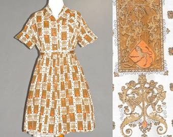 1950s Dress XL, 50s Plus Size Novelty Print Dress and Belt, Ornamental Dragon Print 50s Dress