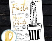 Fiesta Birthday Party Invitation, Cactus Invite, Succulent, Black White Gold Leaf, DIY, Printed or Printable Invitations, Free Shipping