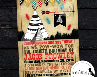 Teepee Birthday Party Invitation, Vintage, Indian Invitation, Pow Wow, Feathers, DIY, Printed or Printable Invitations, Free Shipping