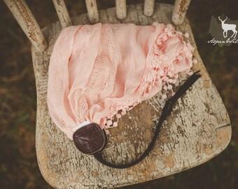Pink Crochet Edge Scarf Camera Strap