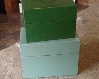 Vintage Industrial Ohio Art Metal File Recipe Box Green plus Bonus Box