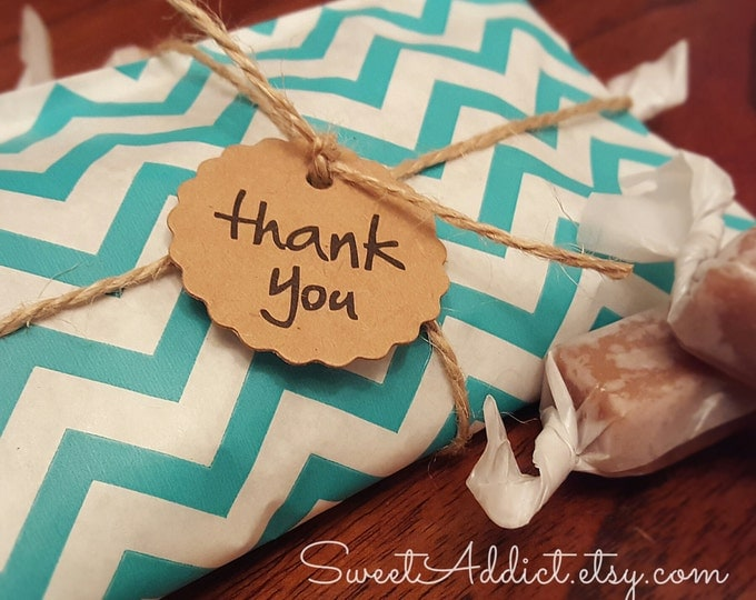 Edible Thank You Favors - Caramels - Chevron - Turquoise  - Great for WEDDING, BRIDAL Shower, BABY Shower, Graduation, Party, Birthday gifts