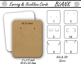 Blank Jewelry Cards,  Earring Cards, Necklace Cards, Earring Holder, 2 by 2 1/2 inch, Display Cards, Jewelry Display