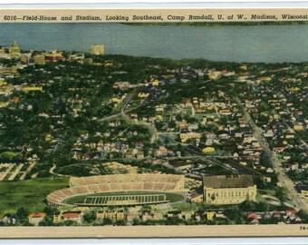 Football Stadium Birdseye View University Wisconsin Madison WI linen postcard