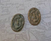 Vintage Brass art Nouveau Findings, Lady Face Brass Stamping, Brass Cameo Earring Pair