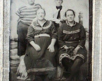 Tintype -  Foursome in Bathing / Swim / Suits, w/ Lighthouse