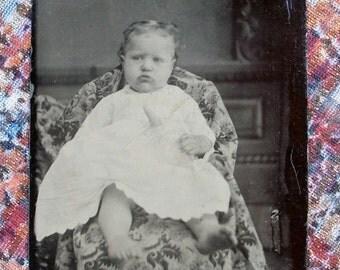 Tintype Baby Holding Bottle