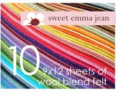 Wool Blend Felt - TEN 9x12 wool felt sheets - You Choose the Colors