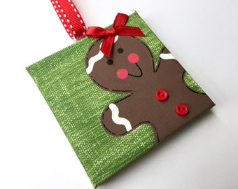 Personalized Hand Painted Gingerbread girl ornament