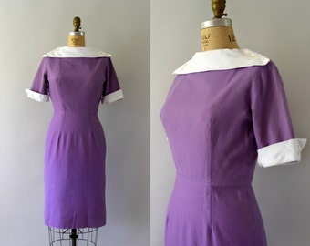 Vintage 1950s Dress - 50s Purple Cotton Wiggle Dress