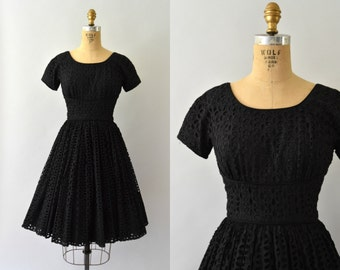 1950s Vintage Dress - 50s Black Eyelet Cotton Dress