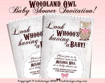 WOODLAND OWL Baby Shower Party Invitation - Whimsical Baby Shower Printable digital file