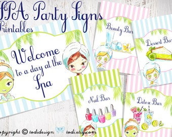 SPA Party Printables -PERSONALIZED - Party Signs