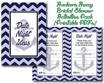 Anchors Away Bridal Shower 2 Printables | Activities | PDF | Nautical | Boats | Coastal | Beach | Sailors | Bride and Groom