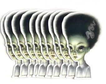The Bride of Frankenstein - vinyl silkscreen sticker - by Mab Graves -