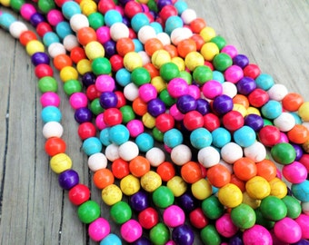 Bubble Gum Colors Magnesite (dyed) 8mm Rounds Full Strand