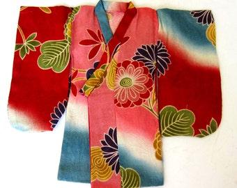 Japanese Handsewn Doll Kimono -Japanese Garden