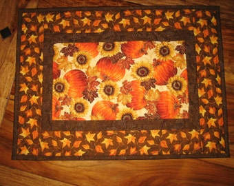 Pumpkins and Sunflowers Table Topper, Quilted Table Topper, Fall Autumn Decor, Orange, Black, Red, Thanksgiving Topper, Handmade