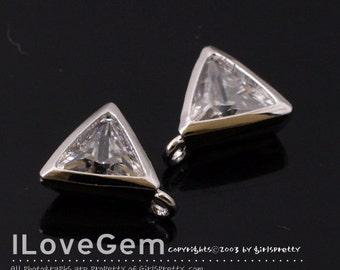 NP-1759 Rhodium Plated, 7.5mm, Triangle, CZ, Pendant, 2pcs