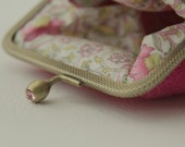 NEW Bronze metal frame coin purse/ pink rhinestones/ Fuchsia pink Harris tweed/ Liberty tana lawn