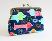 Medium Coin Purse in Colorful Doxie Dogs, Hot Dogs, Dachshunds, Wiener Dogs