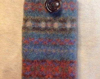 iPhone 6 Plus Case Felted Wool Blue White Gray Upcycled Wool Sweater
