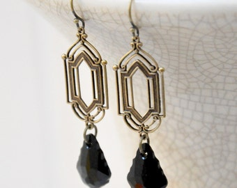Long Black Crystal Earrings, Antique Brass Filigree Earrings, Jet Black Glass Earrings, Victorian Art Deco Earrings, Baroque Crystal Earring