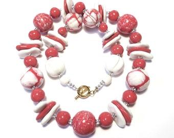 Pink and White Kazuri Necklace, Ceramic Jewelry, Kazuri Bead Necklace