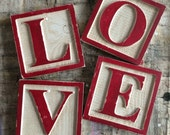 LOVE Alphabet Block Letters Wall Art Hand Painted Sign by Barn Owl Primitives