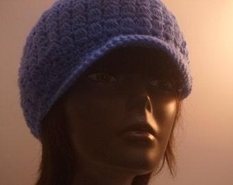 Ladies Cap Country Blue  Crochet Gift Under 35 dollars