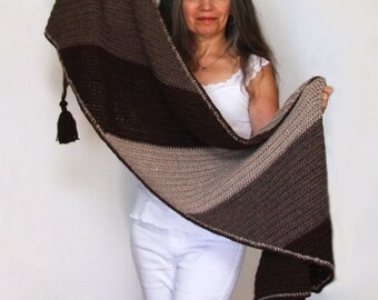 """Crochet Shawl PATTERN / Color Block Wrap with Tassels / Bias Scarf / Blanket Scarf / Made in Canada / Easy Crochet Pattern / """"Canyon Ridge"""""""