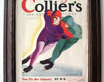 1927 Ice Skating Racing, Artist Ralph E. Entwistle, Skaters Competing, Ice Skaters Competing, Color Print, Magazine Story Picture, Display