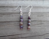 Natural Charoite French Hook Earrings