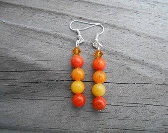 Orange and Yellow Jade French Hook Earrings