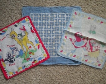 Vintage Childrens Hankies Handkerchiefs Various Years Walt Disney Bambi Thumper Flower Chicks and Chickens Blue Checks