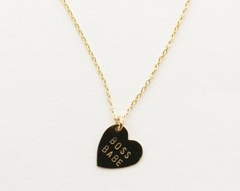 BOSS BABE Heart Charm Necklace