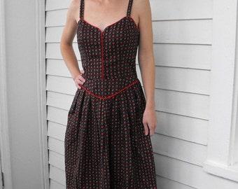 SHOP SALE Lanz Dress Black Print Floral Vintage Boho Prairie Summer Sundress 70s XS S